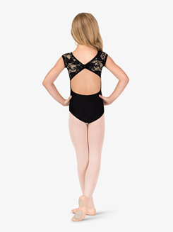 Child Short Sleeve Lace Overlay Ballet Leotard
