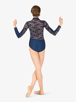 Womens High Neck Lace Insert Long Sleeve Ballet Leotard