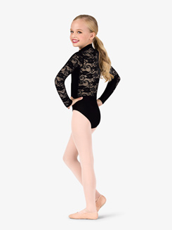 Girls High Neck Lace Insert Long Sleeve Ballet Leotard