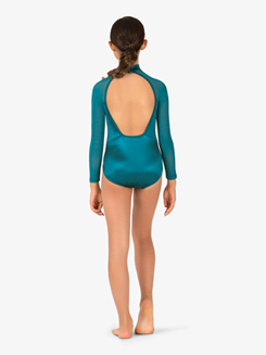 Girls Performance Satin Mesh Insert Long Sleeve Leotard