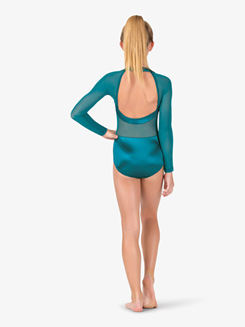 Girls Performance Satin Open Back Long Sleeve Leotard