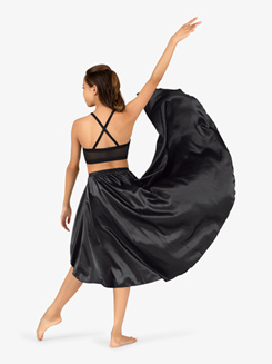 Womens Performance Satin Asymmetrical Skirt