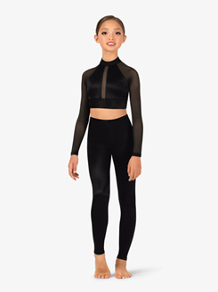 Girls Performance Satin Long Sleeve Crop Top