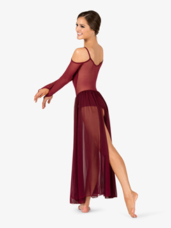 Womens Performance Mesh Shoulder Cutout Long Sleeve Dress