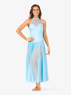 Womens Performance Sweetheart Mesh Halter Dress