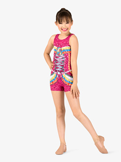 Girls Performance Candy Princess Printed Shorty Unitard