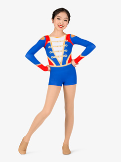 Girls Performance Toy Soldier Long Sleeve Printed Shorty Unitard