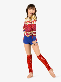 Girls Performance Superhero Long Sleeve Printed Shorty Unitard