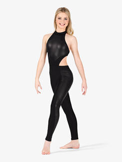 Womens Performance Faux Leather Halter Unitard
