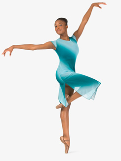 Womens Performance Ombre Mesh Short Sleeve Dress