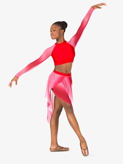 Girls Performance Ombre Mesh Asymmetrical Skirt