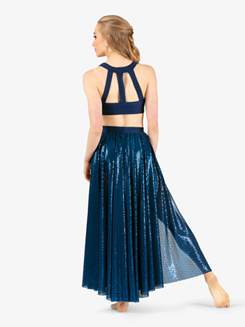 Womens Performance Swirl Sequin Side Slit Skirt