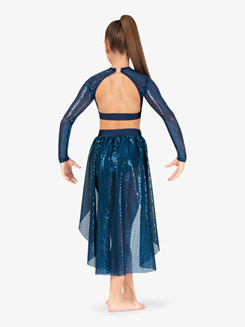 Girls Performance Swirl Sequin Mid-Length Skirt