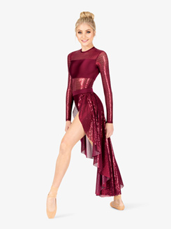 Womens Performance Swirl Sequin Open Front Dress