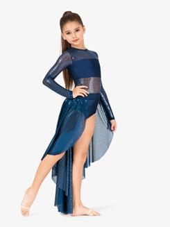 Girls Performance Swirl Sequin Open Front Dress