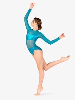 Womens Performance Glitter Long Sleeve Leotard