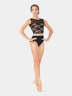 Adult Lace Bodice Two-Tone Tank Leotard