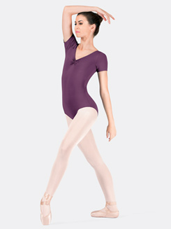 Adult Microfiber Pinch Front Short Sleeve Leotard
