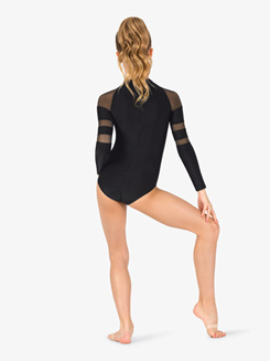 Girls Mesh Long Sleeve Leotard
