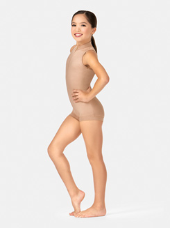 Child Sleeveless Plunging Back Shorty Unitard