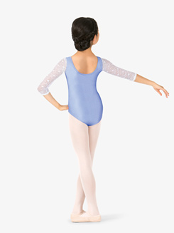 Girls Lace Back 3/4 Sleeve Leotard