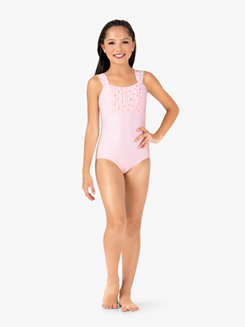 Girls Glitter Heart Mesh Tank Leotard