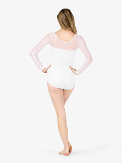 Womens Mesh Yoke Long Sleeve Leotard
