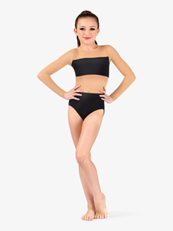 Girls Bandeau Insert Mesh Long Sleeve Leotard