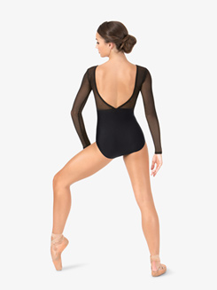 Womens Striped Mesh V-Back Leotard