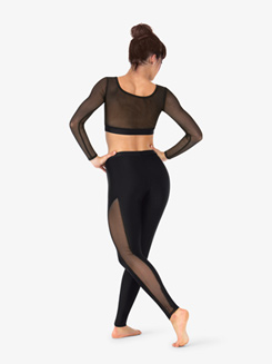 Womens Striped Mesh Full-Length Dance Leggings