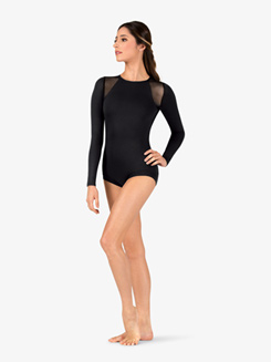 Womens Banded Leg Mesh Long Sleeve Compression Leotard