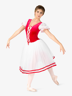 Womens Coppelia Short Sleeve Peasant Costume Dress