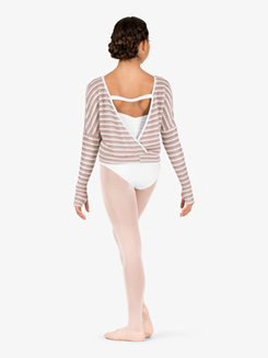 Womens Knit V-Back Warm Up Sweater