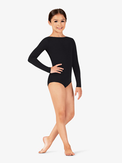 Girls Cotton Low Back Long Sleeve Leotard