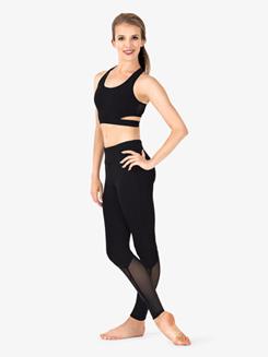 Womens Mesh Insert Fitness Leggings