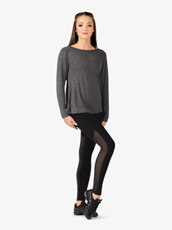 Womens Active Mesh Insert Long Sleeve Top