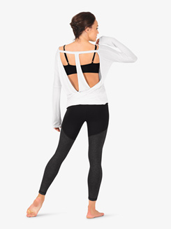 Womens Workout Batwing T-Back Long Sleeve Top
