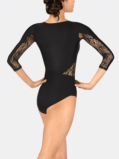 Adult Zebra Lace Long Sleeve Leotard