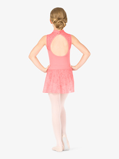 Girls Flower Mesh Mock Wrap Ballet Skirt