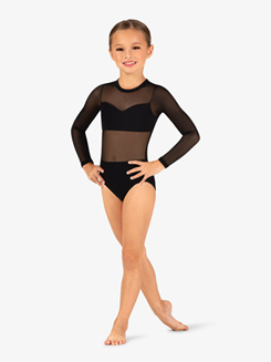 Girls Mesh Insert Long Sleeve Leotard