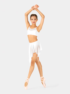 Girls Spiral Hem Mesh Performance Skirt