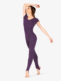 Womens Dance V-Front Short Sleeve Stirrup Unitard