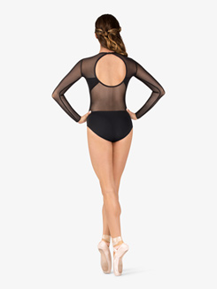 Womens Mesh Back Cutout Long Sleeve Leotard