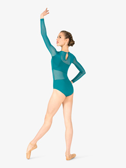 Womens Asymmetrical Mesh Panel Long Sleeve Leotard