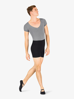 Mens Dance Contrast Short Sleeve Shorty Unitard