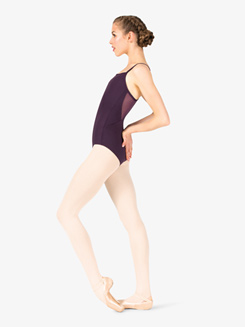 Womens V-Back Mesh Insert Camisole Leotard