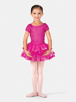 Girls Puff Sleeve Embroidered Tutu Costume Dress