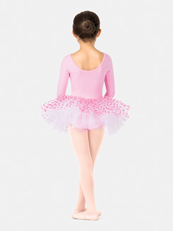 Girls Long Sleeve Heart Print Tutu Dress