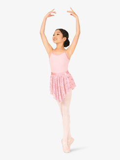 Girls Floral Lace Pull-On Ballet Skirt