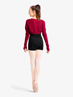 Womens Cable Knit Roll Waist Warm Up Shorts